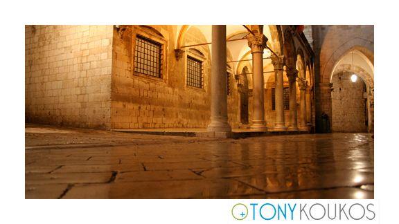 columns, arches, windows, lantern, marble, night, dubrovnik, croatia, europe, travel, photography, art, places