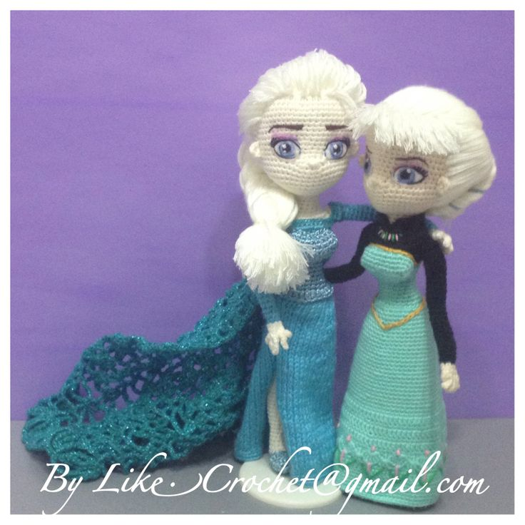 Crochet Elsa Amigurumi : Two Elsa Snowqueen of Frozen Coronation Day Elsa ice gown ...