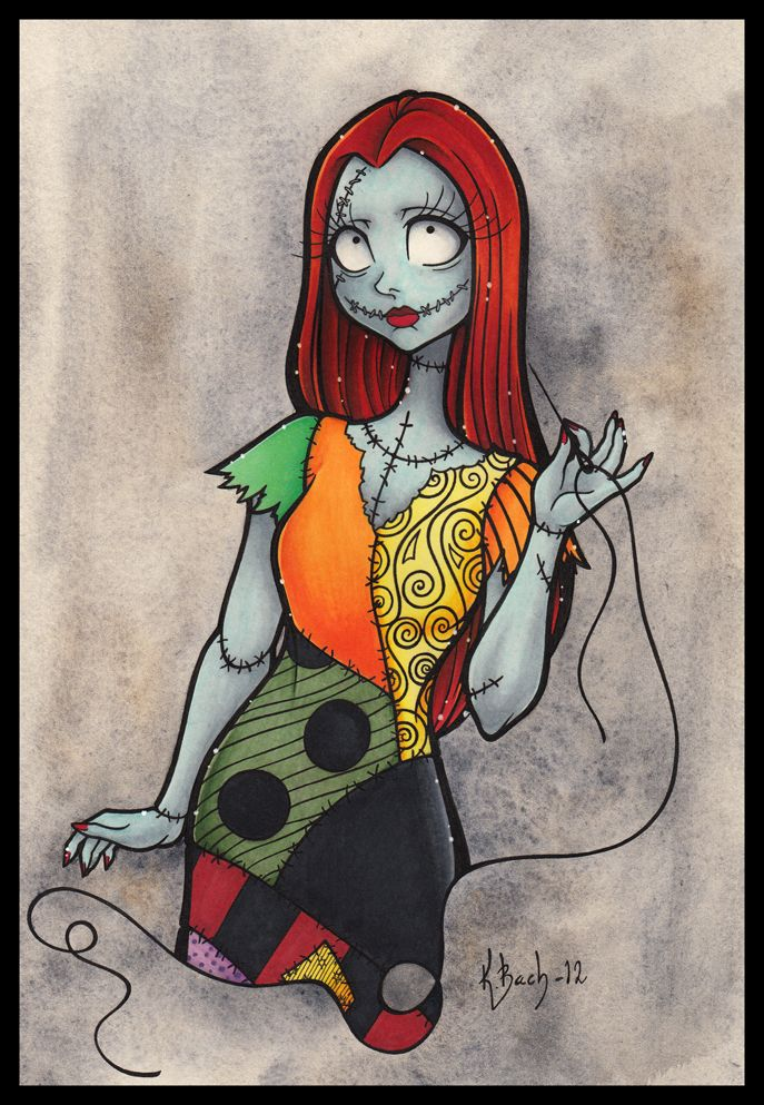 """A painted """"portrait"""" (if you can do portraits for claymated cartoon girls) of Sally from """"The NightMare Before Christmas"""". Sally is as always, colourful, sweet, and coy. :) Just how I likes her."""
