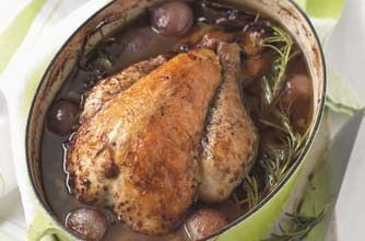 Guinea fowl with rosemary, red wine and mushrooms recipe