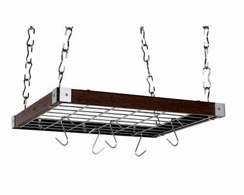 "Concept Housewares PR-49293 Hardwood Square Hanging Pot Rack, Espresso by Concept Housewares. $69.14. Chrome grid doubles as storage shelf; 12 cast-aluminum ""S"" hooks. 4 rugged ceiling hooks; 32 hanging links afford proper hanging height. Square hanging pot rack introduces style and function to any kitchen. Made of solid Asian hardwood; warmly elegant espresso finish. Measures approximately 19 by 23 by 2-1/5 inches. This square ceiling pot rack provides efficient storage for al..."