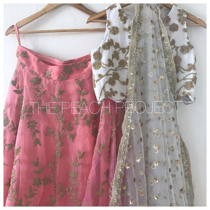 The Coral Shoreline Lehenga Set. This organza skirt and georgette blouse lehenga set
