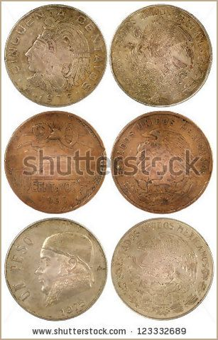 Different rare coins of mexico isolated on white background - Shutterstock