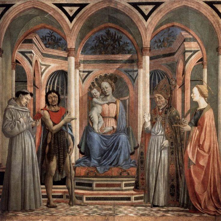Мадонна с младенцем в окружении святых. 1445 г Доменико Венециано. Темпера по дереву. Галерея Уффици, Флоренция.