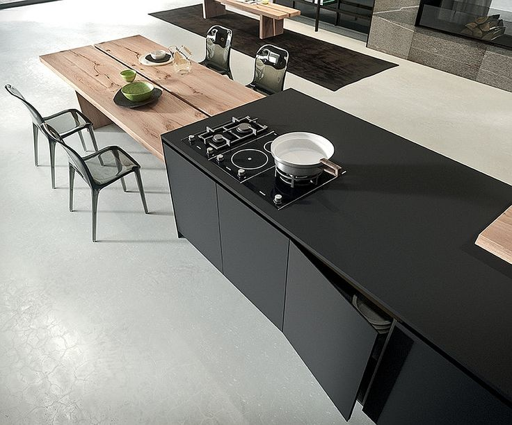 Kitchen island with an extended dining table in solid wood