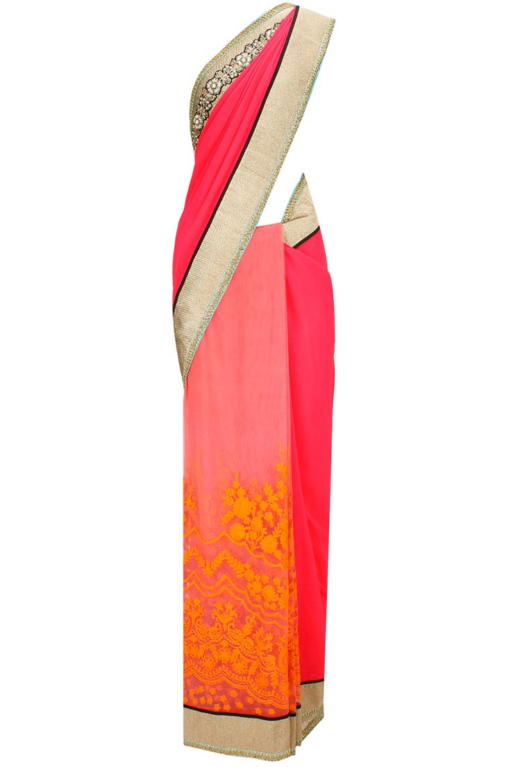 Pink georgette and tulle embroidered sari with blue blouse piece available only at Pernia's Pop-Up Shop.