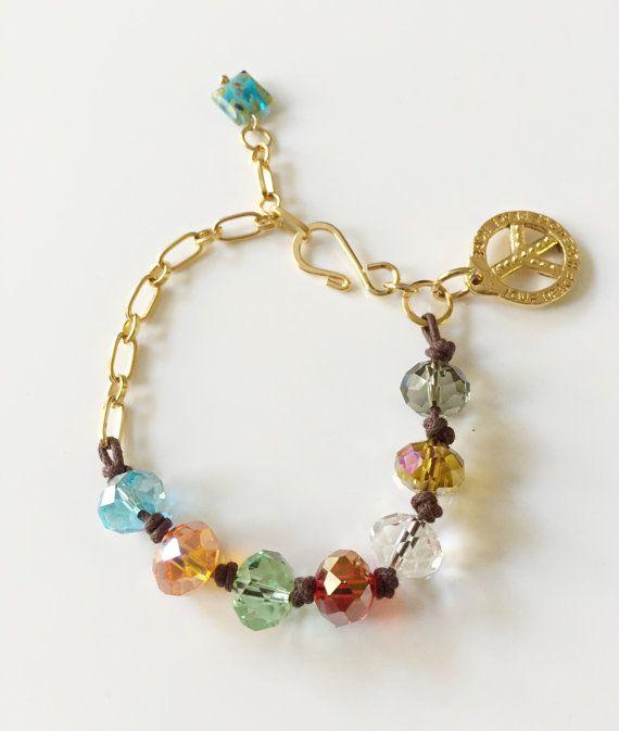 Woman #bracelet, Crystals beads bracelet, #Jewelry Woman, Gold bracelet, Brown…