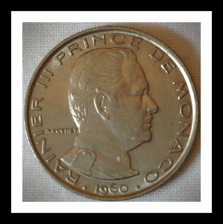 Monaco 1 franc 1960 Condition F-VF.  The Principality of Monaco is located in the south of France, on the Mediterranean shore.  Though this sovereign city has used, and contains to use, the French franc and now euro, it does continue to mint its own coins, both for general circulation and for collectors.   For this and more Monegasque coins, please visit AlbaCoins.com   #monaco #coins