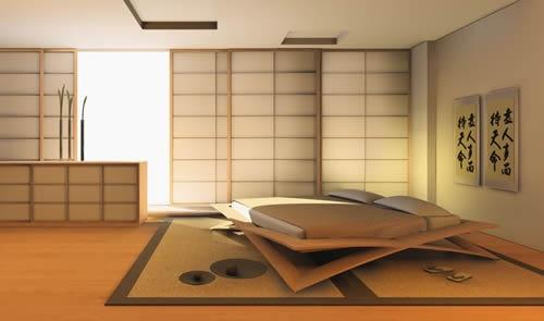 Interesting Japanese cross-shaped bed design.