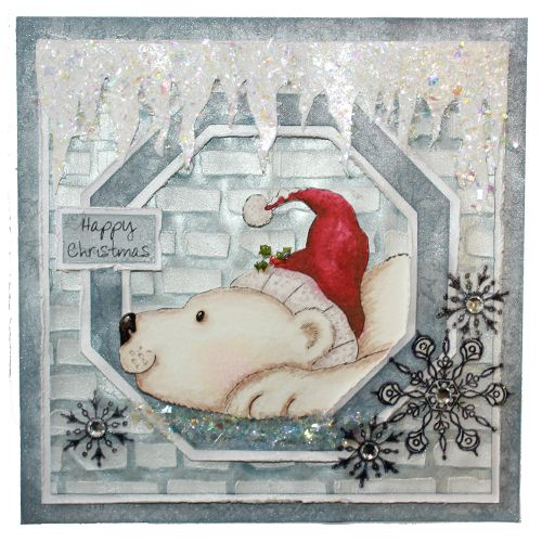This is the gorgeous new Peter the Polar Bear set designed from Hobby Art. Clear set contains 5 stamps. This Lovely Card was made by Sally Dodger