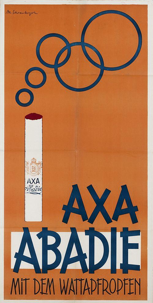 Axa Abadie - mit dem Wattapfropfen (Zigarettenpapier - Zigarettenhülsen) Abadie Papier Gesellschaft, Wien (RIZ). Entwurf Maria Schwamberger (Schwamberger-Riemer), Österreich ca. 1920.