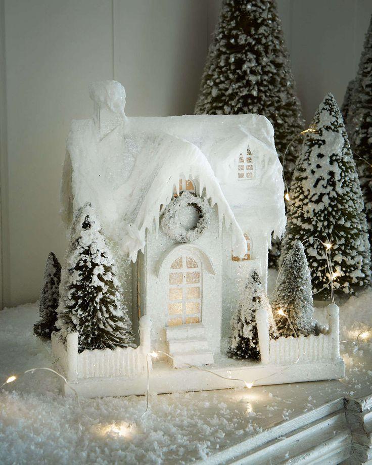 Bethany Lowe Ivory Glitter Cottage