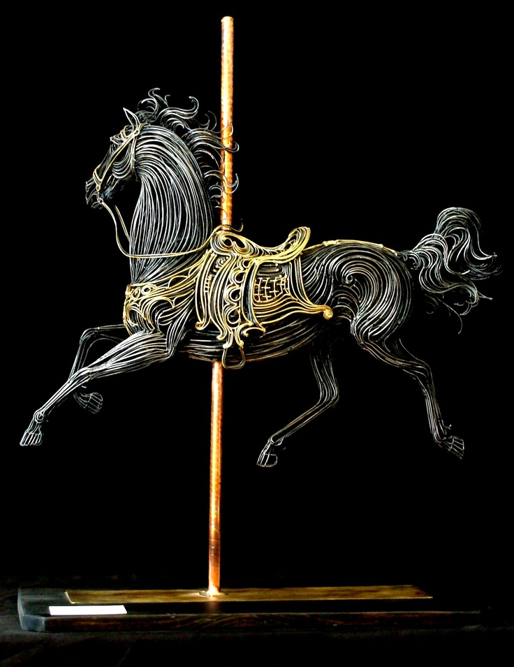 Robert Alan Hyde | ' Carousel Horse Sculpture'.  Brass and steel rods, individually fashioned with the use of an oxygen and acetylene welding torch