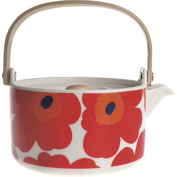 "Unikko Teapot. Designed in 1964 by Maija Isola, the Unikko (""poppy"") design has been the most popular Marimekko print since its introduction."