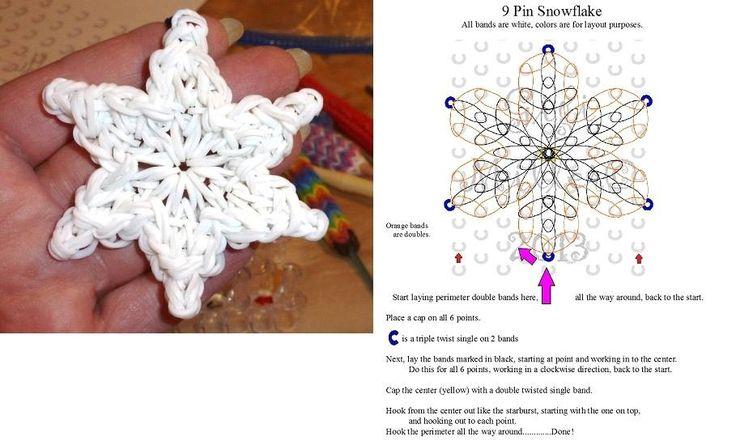 9 Pin Snowflake Rainbow Loom