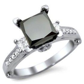 2.44CT Princess Cut Created Black Diamond Rhodium Plated Ring
