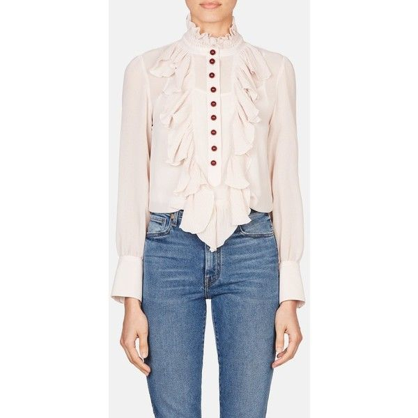 See by Chloé Victorian Button Blouse  Morganite ($395) ❤ liked on Polyvore featuring tops, blouses, silver, flutter sleeve blouse, pink top, sleeve blouse, smock blouse and flutter sleeve top