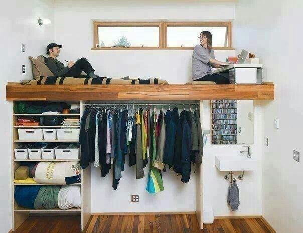 loft bed with storage - just make the hanger section go back deeper and put doors on it. Bed and extra closet in one.