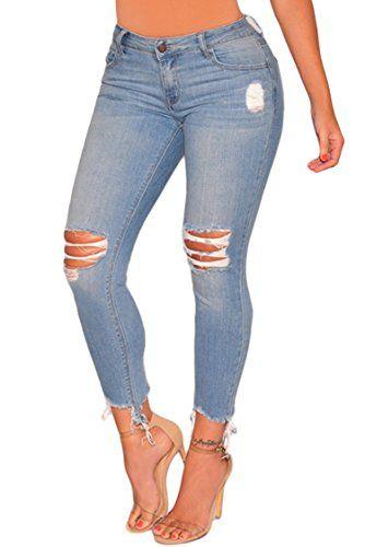5d2a457e87fb1 Sidefeel Women Hight Waist Ripped Denim Ankle Length Skinny Jeans ...