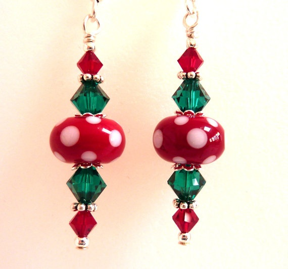 Christmas Earrings Red Green White Glass by Elegencebyelaine, $26.00