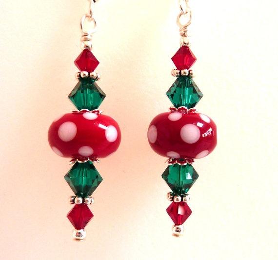 Christmas Earrings Red Green White Glass by Elegencebyelaine, $26.00