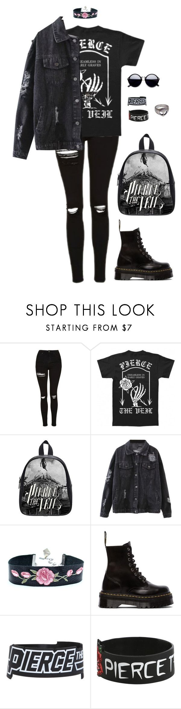 """""""King for a Day - Pierce The Veil"""" by grungeclothes ❤ liked on Polyvore featuring Topshop, Dr. Martens and Hot Topic"""
