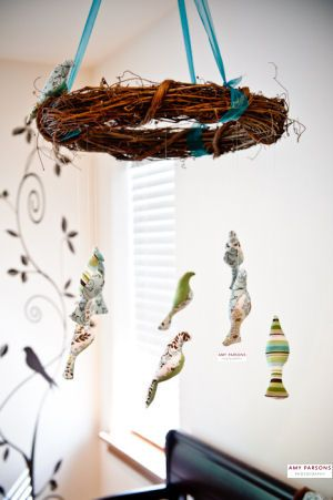 Homemade bird baby crib mobile for a baby boy bird themed nursery room