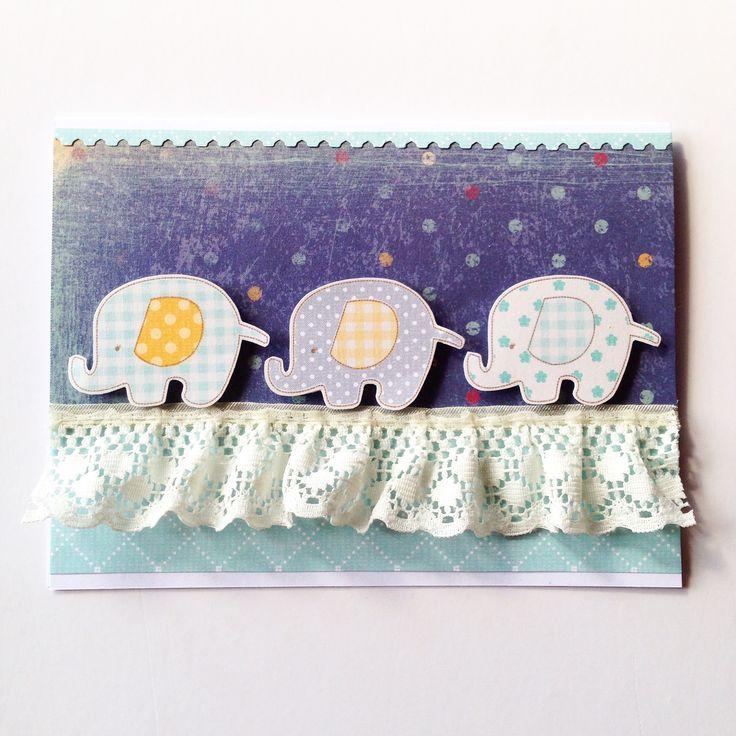 '3 Little Elephants' Newborn Baby Card! Made by Pammypumpkin!