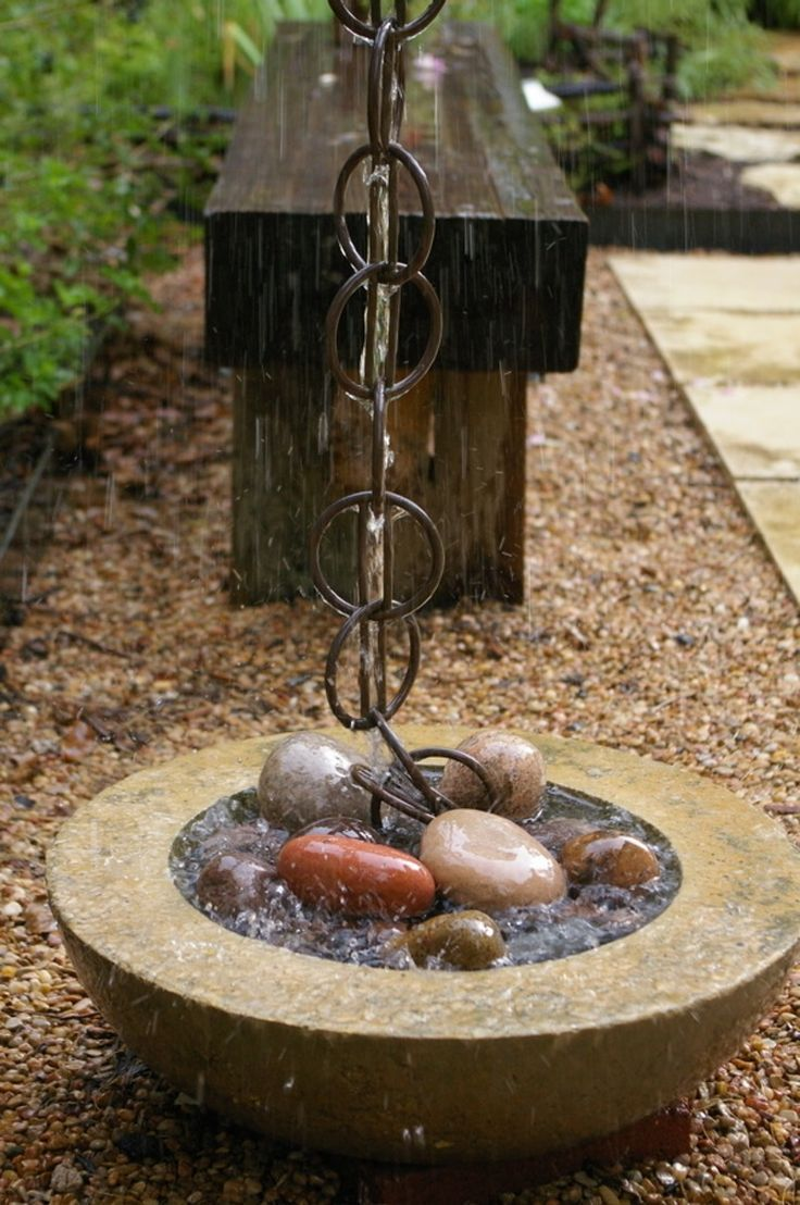 Carved stone water basins are a perfect catchment for a