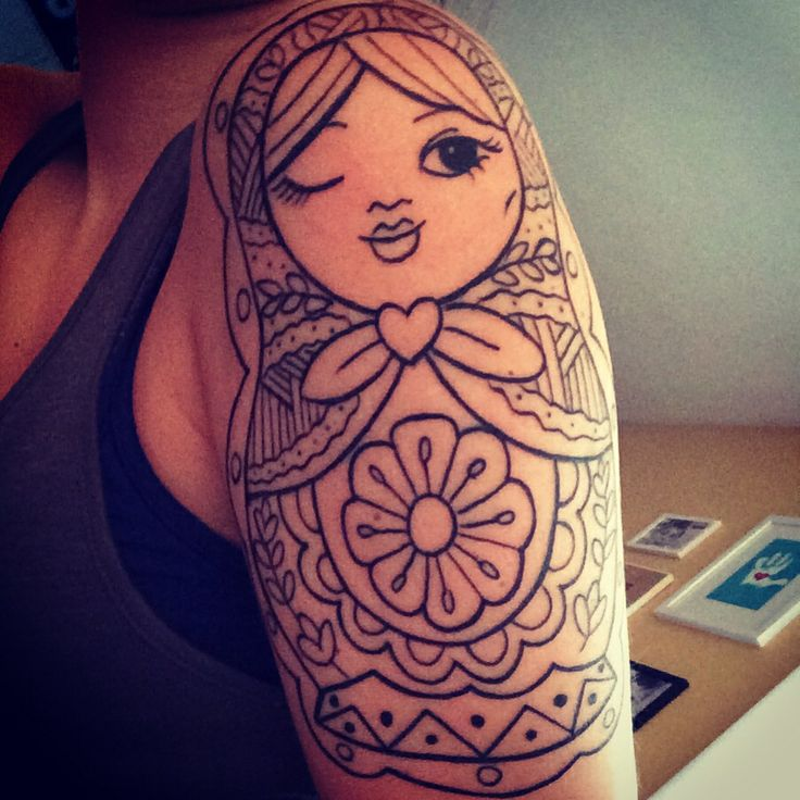 Russian doll tattoo. Lines. Half sleeve. Nesting doll tattoo. Girl. Doll. Matryoshka doll.