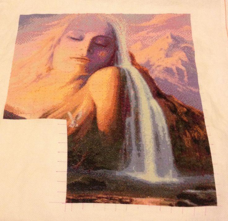 Mountain Goddess counted cross stitch progress