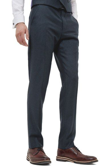 TED BAKER 'Debonair' Flat Front Solid Wool Trousers. #tedbaker #cloth #