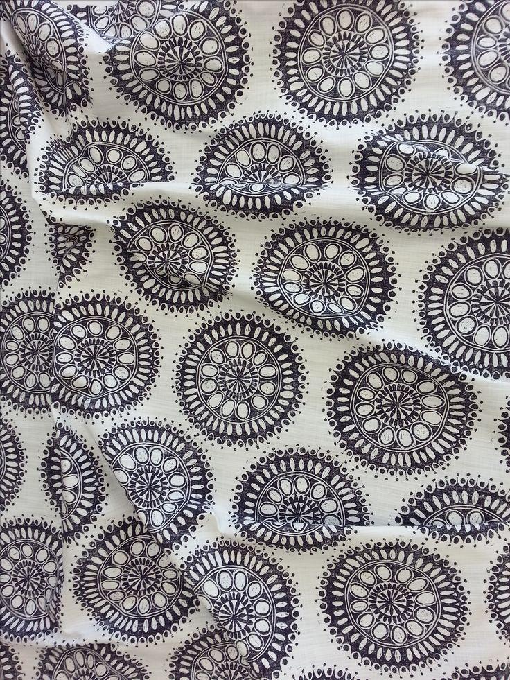 Maradadhi Textiles, Maradadhi Flower Design. This colourway is Indigo Blue onto white cotton.