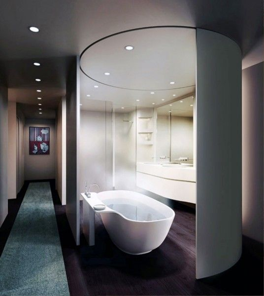 loft master bathroom design by unstudio movable curved wall im more interested in that bathtub