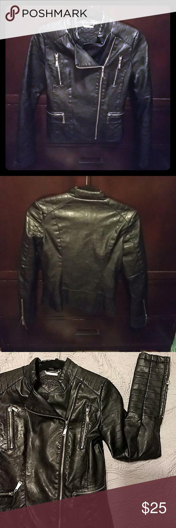 Faux Black Leather Jacket XS Brand Jou Jou . Nice light