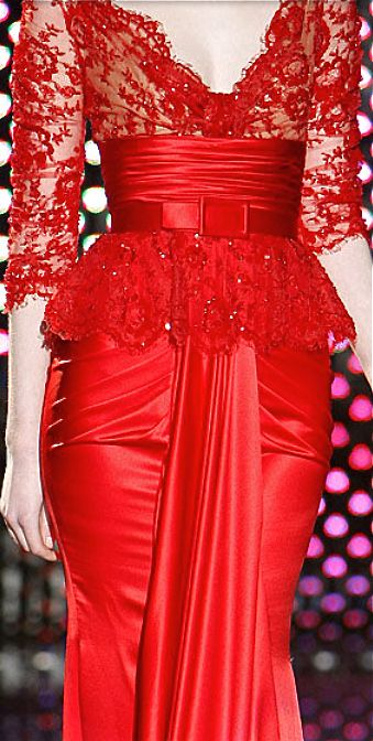 Zuhair Murad - red lace & silk...a very bold look