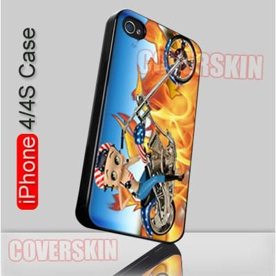 Bettie Boop Motobike Cute Pin Up Girl copy iPhone 4 or 4S Case Cover