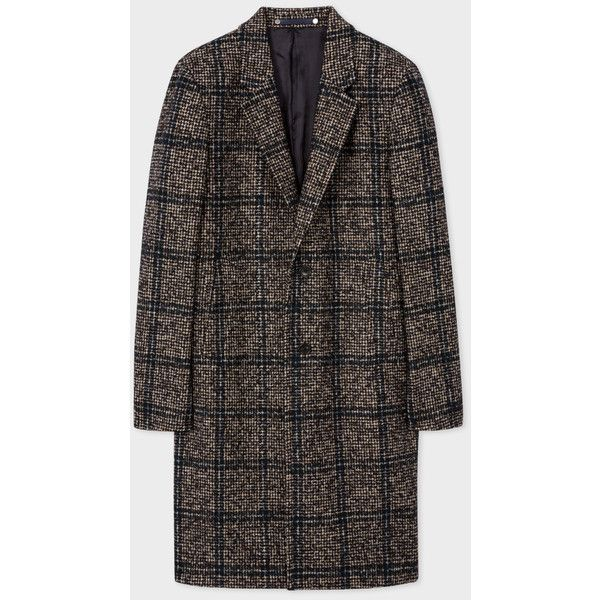 Paul Smith Men's Brown Wool-Alpaca Houndstooth-Check Overcoat (5 020 SEK) ❤ liked on Polyvore featuring men's fashion, men's clothing, men's outerwear, men's coats, mens wool overcoat, mens wool outerwear, mens fur collar overcoat and mens houndstooth coat