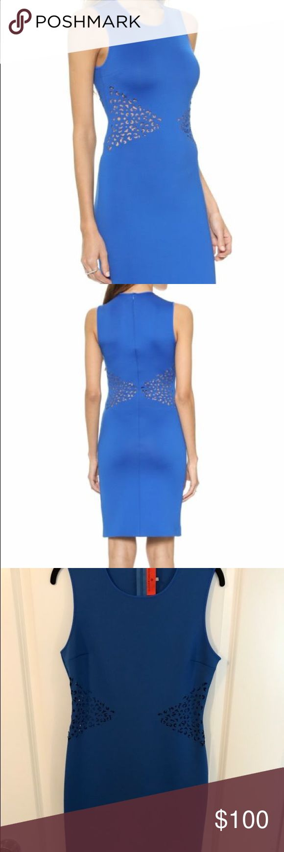 Clover Canyon Laser Cut Dress - Cobalt Laser-cut patterns show peeks of skin on this formfitting Clover Canyon dress. Banding traces the neckline and arm openings. Hidden back zip. Unlined.  Fabric: Neoprene. 90% polyester/10% spandex. Hand wash. Clover Canyon Dresses Mini
