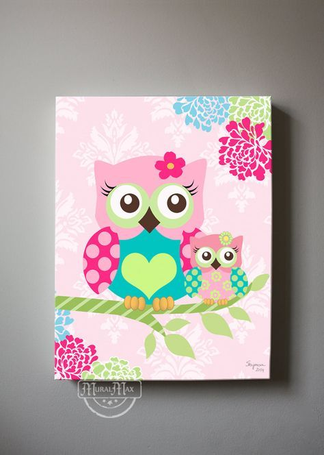 Floral Owl Nursery wall art - OWL canvas art, Pink Floral Baby Nursery , Owl…
