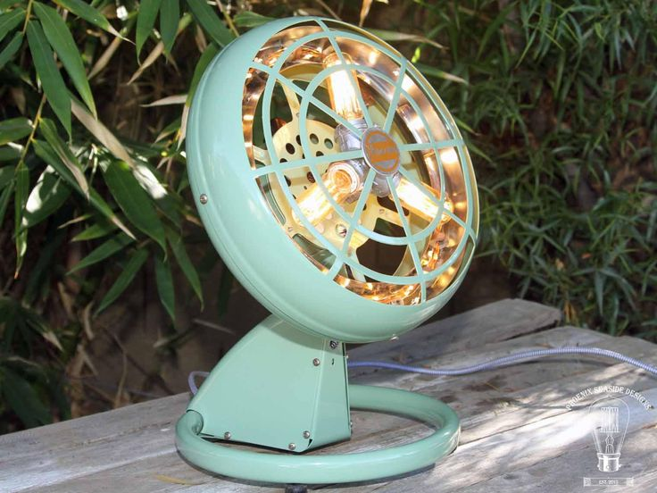 Vintage Green Fan-Heater Lamp with Edison Bulbs and LED's Industrial Mid-Century Retro Table Lamp