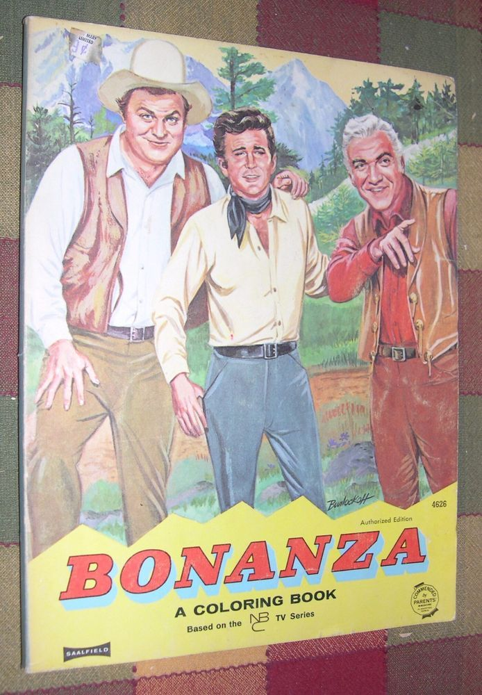 BONANZA A Coloring Book 1965 with Drawings by Norton Stewart NBC Series