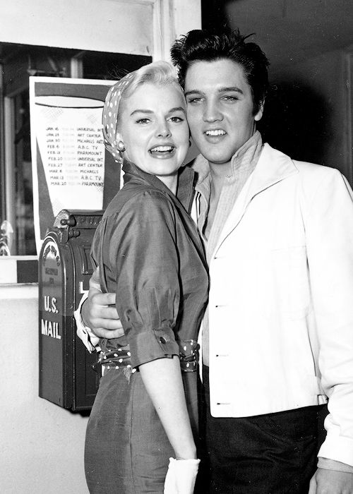 Elvis and Barbara Lang at the MGM Studio lot, 1957.