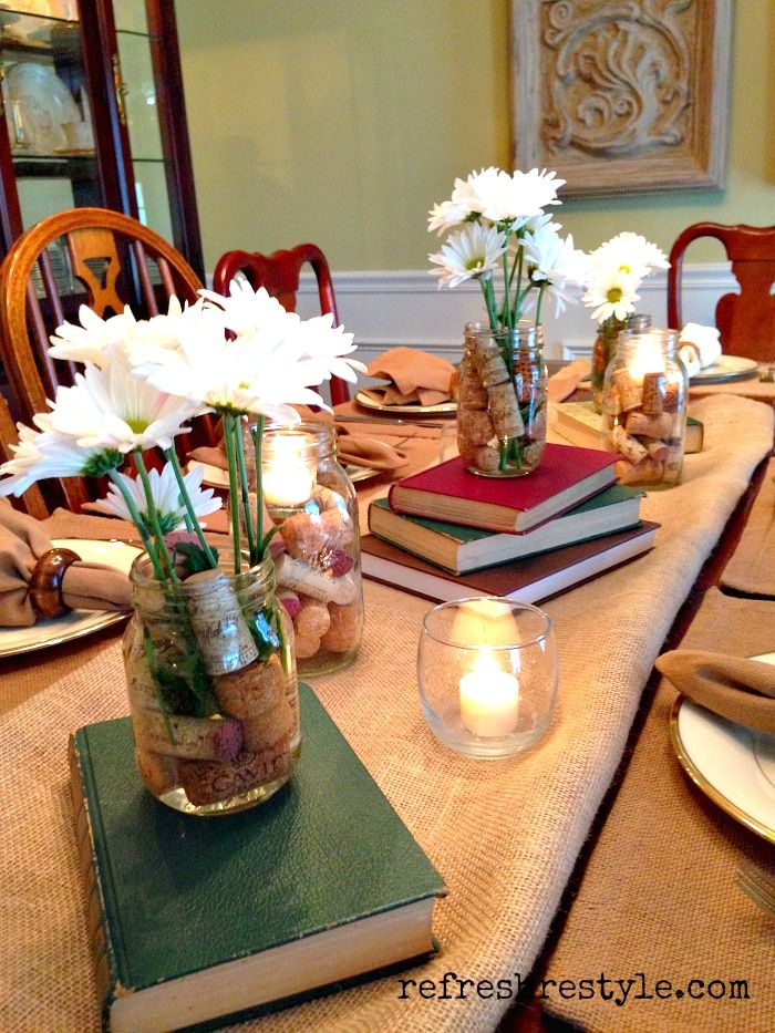Book club ideas for decorating. #bookclub #masonjars #books