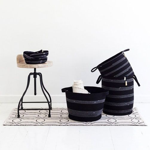 Coiled cotton rope floor storage basket with handles | Mia Melange at Between Dog and Wolf