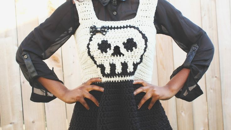 WIP Complete» Crochet Skull Dress Finished this fun crochet dress that I designed, just in time for the Halloween weekend!