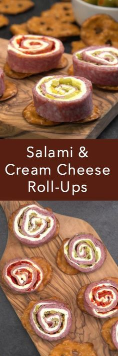Salami & Cream Cheese Roll-ups are the perfect game day appetizer--without the pretzels