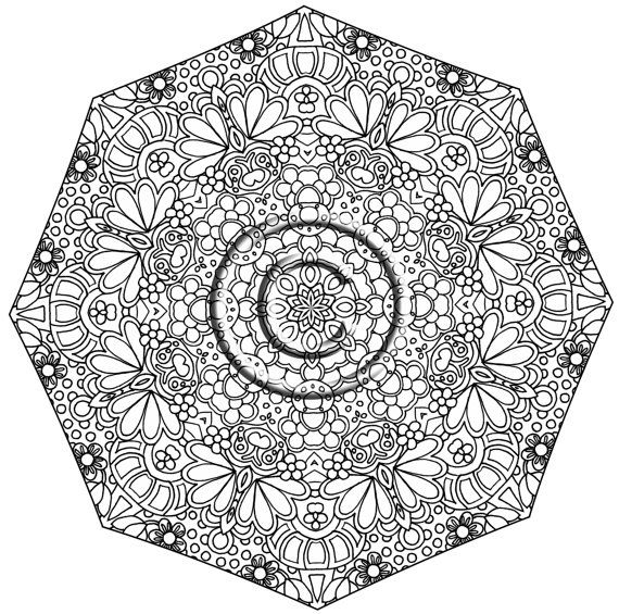 Instant PDF Download Coloring Page Hand Drawn Zentangle Inspired Thriving Psychedelic Kaleidoscope Mandala Zendoodle Doodle By Kat