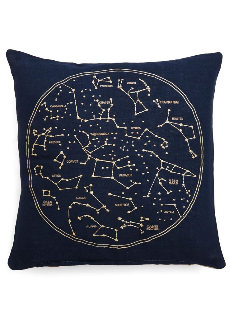 Celestial Chateau Pillow. While youve got your feet on the ground, youre always shooting for the stars - even in your decor, with this embroidered throw pillow! #blue #modcloth