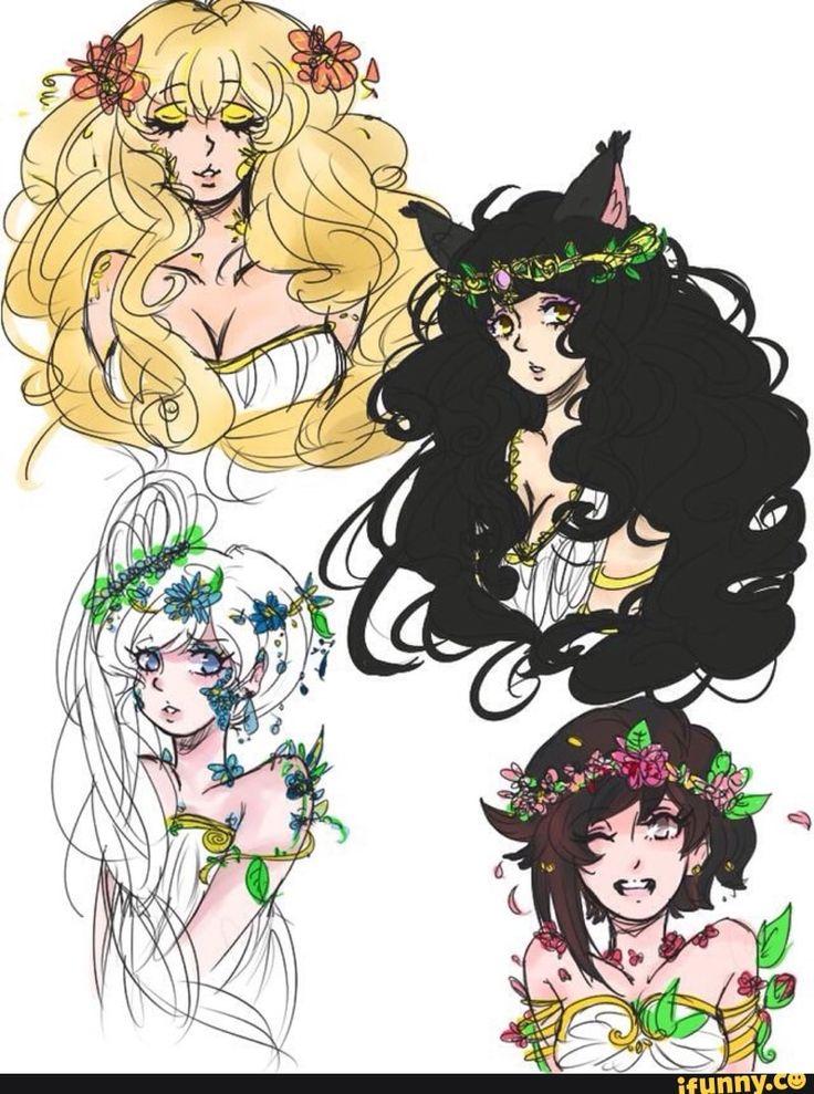Meu Ozpin, olha esses penteados quantos cachinhos e flores LINDO.